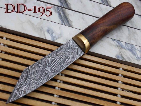 """10""""Long hand forged Twist pattern Damascus steel hunting Knife, Rose wood round scale with brass bolster, thick Cow hide leather sheath"""