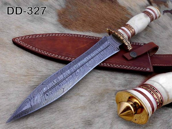"""15""""Long Damascus steel Dagger knife hand forged 8"""" dual edge,exotic scale crafted with engraved brass finger guard pommel camel bone"""