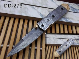 """Damascus steel 7.5"""" long Folding Knife Damascus with engraved brass & steel scale, custom made 3"""" Hand Forged blade cow hide leather sheath"""