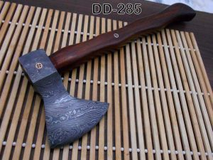 Damascus steel tomahawk Axe bearded hiking battle axe14.5 Inches long Hand Forged with Rose wood round handle, thick cow hide leather sheath