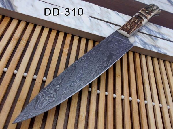 """12.5 Inches long custom made Damascus steel full tang 6.5"""" blade Chef Knife, 5"""" long stag Antler scale Cow hide Leather sheath"""