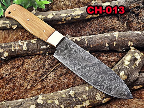 """10"""" Long hand forged Hunting Damascus steel full tang Knife with gut hook, Kao Wood With Brass Boster."""