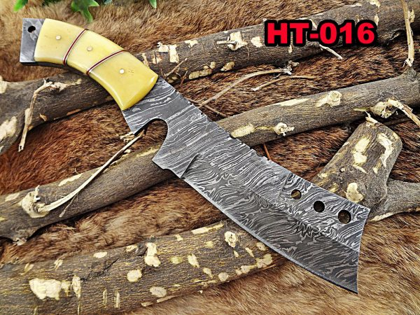 """11"""" Long hand forged Damascus steel cleaver knife full tang chopper Knife, Butcher knife Natural Camel Bone Scale, Cow Leather sheath"""