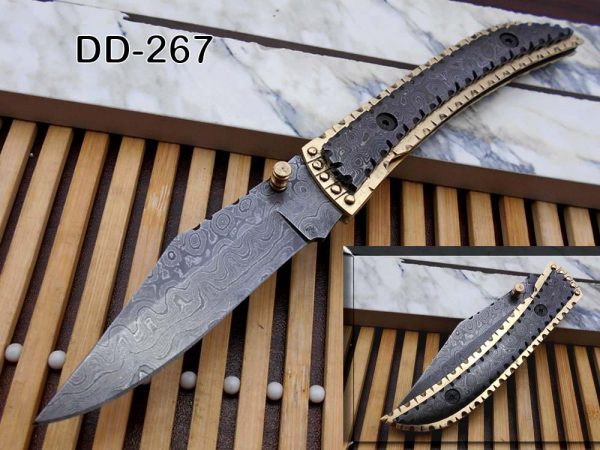 """8 Inches long Folding Knife custom made Damascus steel and engraved brass scale 3.7"""" Hand Forged blade blue exotic leather sheath With loop"""