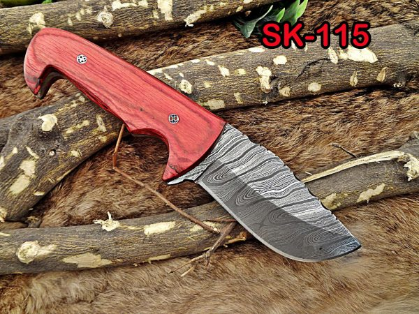 """8.5"""" Long Damascus steel hand forged compact skinning Knife, 4"""" clip point full tang blade, Red dollar wood scale, Cow hide Leather sheath"""