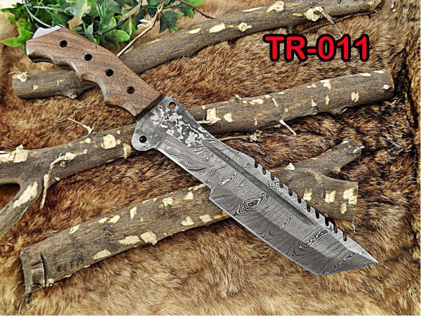 """14"""" Long hand forged Damascus steel tracker knife full tang Tanto blade, Natural rose wood scale with hole, cow hide leather sheath"""