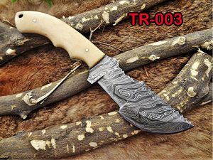 """10""""Long tracker knife hand forged twist pattern full tang Damascus steel, Natural Camel bone hole scale, Cow hide leather sheath"""