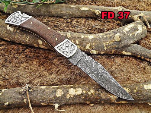 """Damascus steel 9"""" long Folding Knife, Micarta wood Scale with Engraved steel bolster, custom made 4"""" Hand Forged blade cow leather sheath"""