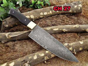 """Damascus Steel 10 Inches kitchen Knife, 5.5"""" long full tang Hand Forged blade, Bull horn scale with brass bolster, 6 mm thick blade"""
