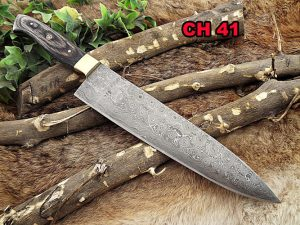 """Damascus Steel kitchen Knife 14 Inches full tang 9"""" long Hand Forged blade, 2 Tone Dollar wood and brass bolster scale"""