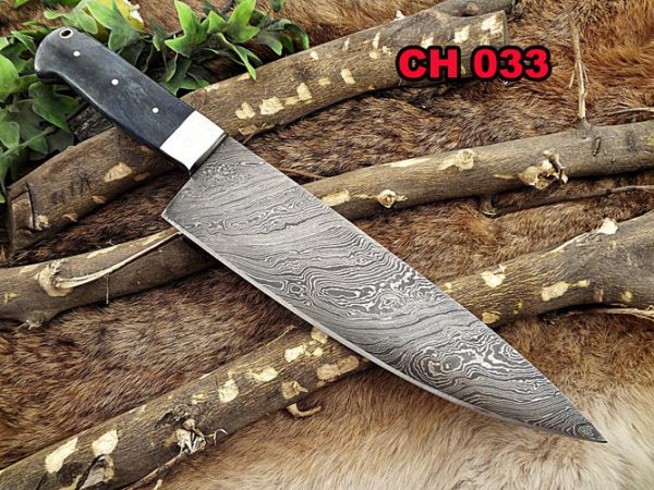 """Damascus Steel kitchen Knife 14 Inches full tang 9"""" long Hand Forged blade, Blue Colored camel bone and brass bolster scale"""