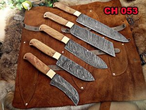 5 pieces chef knives set, overall 54 inches full tang hand forged Damascus steel blade, custom made leather sheath
