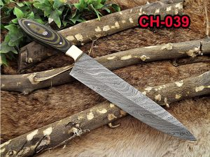 """Damascus Steel kitchen Knife 13 Inches full tang 7.5"""" long Hand Forged blade, 2 Tone Dollar wood and brass bolster scale"""