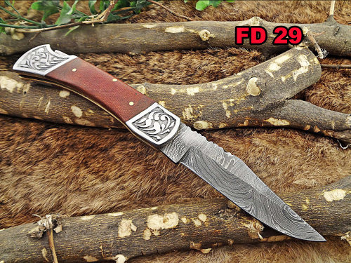"""Micarta wood Scale with Engraved steel bolster Damascus steel 9"""" long Folding Knife custom made 4"""" Hand Forged blade cow hide leather sheath"""