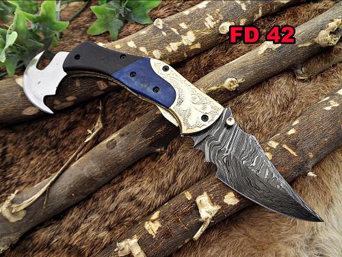 "8"" long Damascus steel Folding Knife, Engraved brass Bull horn & Blue bone scale, custom made 3"" Hand Forged blade, cow hide leather sheath"