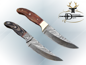 """9.5"""" Damascus steel full tang blade skinning Knife, Available in 2 wood scales with Brass bolster, includes Cow hide Leather sheath"""