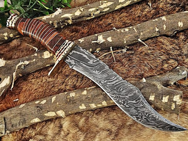 """12.5"""" Long hand forged Damascus steel Hunting Bowie Knife, sliced Rose Wood With engraved Brass cap and finger guard, Cow Leather sheath"""