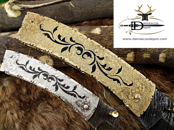 """7"""" long Folding Knife with 3"""" Damascus steel blade, Solid hand engraved scale in Brass and Steel, liner lock thumb knob, Leather sheath included"""