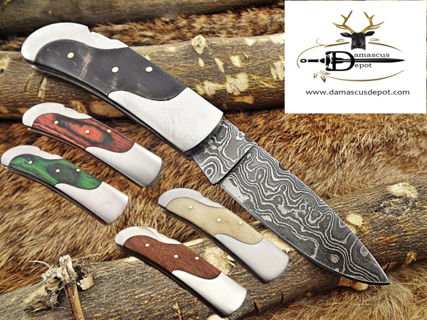 """Damascus steel 6.5 """" long Folding Knife, Various scales available with steel bolster, 3"""" Hand Forged blade, Cow hide leather sheath included"""