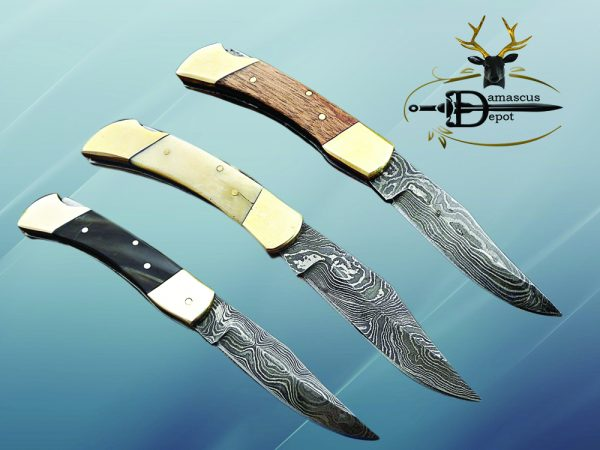 """7.5"""" back liver lock Folding Knife, Hand forged Damascus steel blade, Available in wood, Bone and Horn scales bolster, Comes with cow hide leather sheath"""