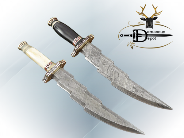 """14.5"""" long custom made Hand Forged Damascus Steel zig zag blade Knife With 9"""" blade, camel bone with engraved brass scale Leather sheath"""