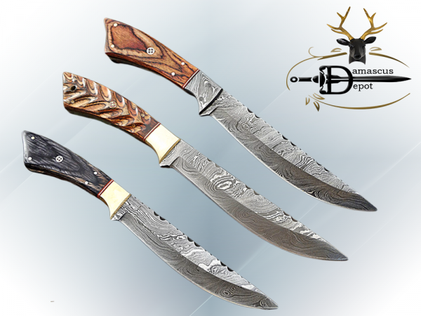 """11"""" Long Damascus steel full tang blade skinning Knife, Available in 3 scales with bolster, Includes Cow Leather sheath"""