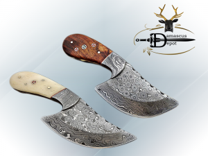 """7"""" long Hand Forged Damascus Steel wide blade Pocket Knife with 3.5"""" cutting edge, available in 4 Natural scales, Includes Cow leather sheath"""