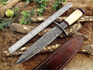 13 Inches long Damascus steel custom made hunting dagger Knife camel bone, Bull horn & bolster scale Hand Forged cow hide leather sheath