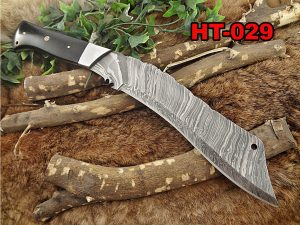 """15"""" Long hand forged Damascus steel Eagle Kukri Knife, 10"""" full tang blade, Micarta wood scale with steel bolster, Cow hide Leather sheath"""