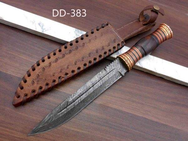 """13"""" hand forged Damascus Hunting Knife, 7"""" blade, exotic Rose wood scale crafted with engraved brass work and fiber spacing, Leather sheath"""