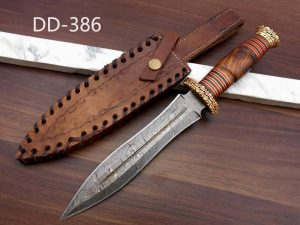 """13"""" Long Damascus Dagger hand forged Knife 7"""" dual cutting edge exotic Rose wood scale crafted with engraved brass & fiber spacing, sheath"""