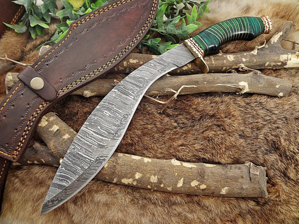 """Damascus Steel Kukri Knife 15 Inches custom made Hand Forged With 10"""" long blade, Green wood with engraved brass scale, Cow Leather Sheath"""