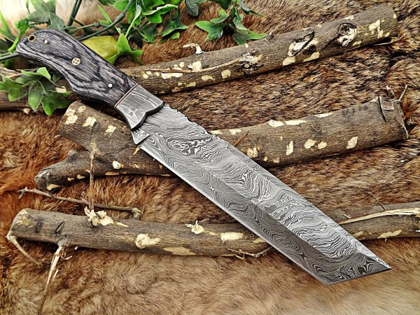 """14"""" Long hand forged Damascus steel tracker knife full tang Tanto blade, 2Tone dollar wood scale Bakery knife, Cow hide leather sheath"""