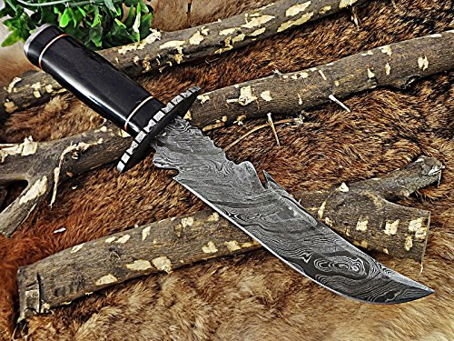 """13"""" Long hand forged Damascus steel hunting Bowie gut hook knife, Bull horn scale with Damascus finger guard & cap, Cow hide Leather sheath"""