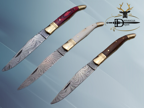 """8.5"""" Damascus steel Laguiolle knife, Available in various scales with brass bolster, 4"""" twist pattern Blade, Cow hide leather sheath included"""