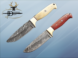 """9"""" Damascus steel skinning knife, 4.5"""" full tang blade, Available in White and Red colors, includes Cow hide Leather sheath"""