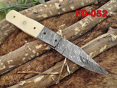 """Damascus steel 7.5"""" long Folding Knife, Camel Bone scale with Damascus bolster and Thumb knob, custom made Hand Forged Damascus blade, Cow hide leather sheath with belt loop"""