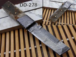 """Damascus steel folding knife 7.5"""" long hand forged custom made 3.5"""" Tanto blade, Ram horn scale with Damascus bolster, Cow leather sheath"""