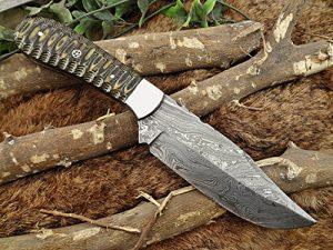 10 Inch Black & Yellow Jigged Micata Sturl wood Skinner Knife Cow Leather Sheath
