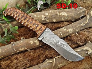 9.5 Inch Brown Jigged Dollar wood scale Skinner Knife, Full tang Hand forged Damascus steel blade with Cow hide leather sheath