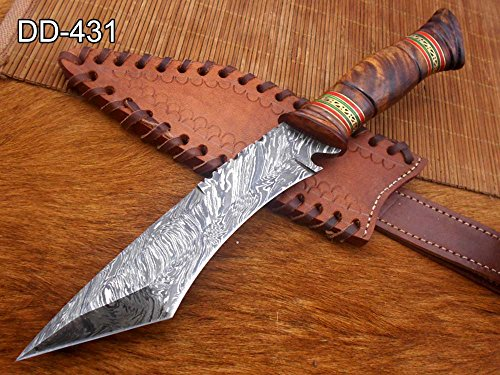 """11"""" Long hand forged Damascus steel Tanto blade Hunting knife, exotic Hand crafted Camel bone scale with engraved brass & green fiber spacer, Cow hide Leather sheath with belt loop (Copy)"""