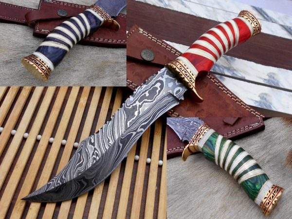 """12"""" Long Damascus steel Hunting Bowie knife hand forged, exotic scale crafted with engraved brass, sliced camel bone and Wood W/brass spacer"""