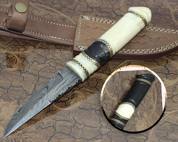 9.5″ Custom made Hand Forged Damascus skinning Knife, hand crafted round scale with engraved brass spacer, Cow hide Leather Sheath included