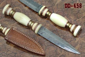 """11"""" Custom made Hand Forged Damascus Dagger hunting Knife, Round grip Camel Bone scale with engraved brass spacer, Cow hide Leather Sheath included"""