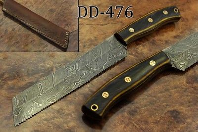 """11.5"""" hand forged Damascus steel bread knife with 7"""" long serrated cutting edge, Cow Leather sheath included"""