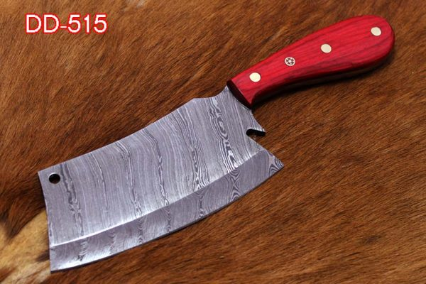 """9.5"""" hand forged Damascus steel butcher Cleaver, Red wood scale chopper knife, Leather sheath included"""