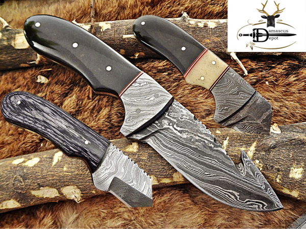 """8"""" Long skinning knife, 4"""" full tang gut hook blade, hand forged Damascus steel, available in 3 scales, includes Cow Leather sheath"""