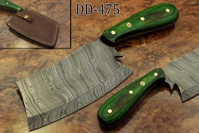 """9.5"""" hand forged Damascus steel butcher Cleaver, chopper knife, Leather sheath"""