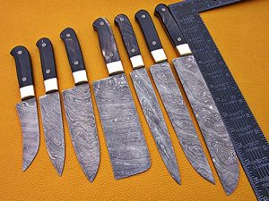 7 pieces Custom made hand forged Damascus steel full tang blade kitchen knife set, Over 75 inches Length of Damascus sharp knives (15+14+13.5+12+11+10+9) Inches, Cow hide Leather sheath