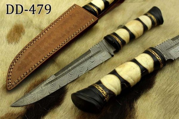 """13"""" Damascus steel skinning knife, exotic hand crafted round scale, Cow sheath"""